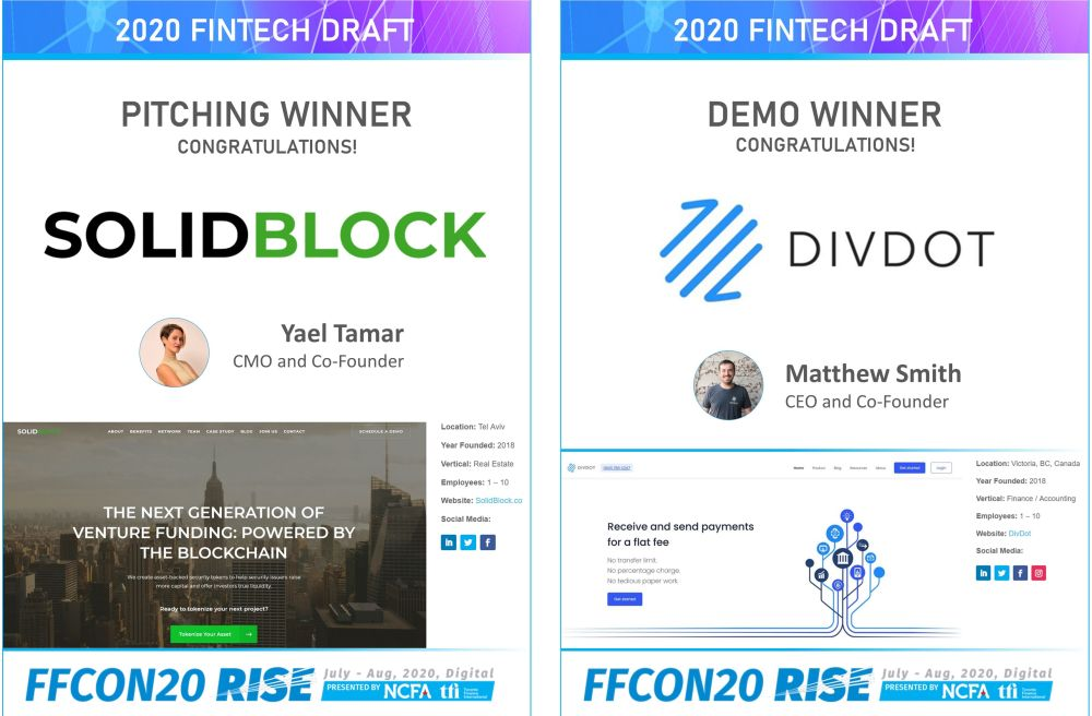 FFCON20 Pitching and Demo Winners - Senator Peter Boehm and Senator Colin Deacon give Fintechs a Voice in Canada